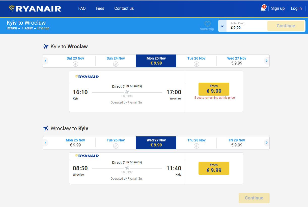Авиабилеты Ryanair по 9,99 евро из Киева
