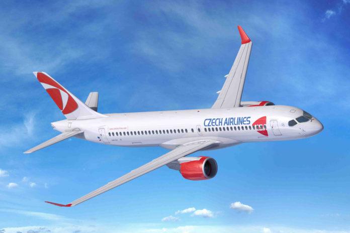 Airbus A220-300 в ливрее Czech Airlines