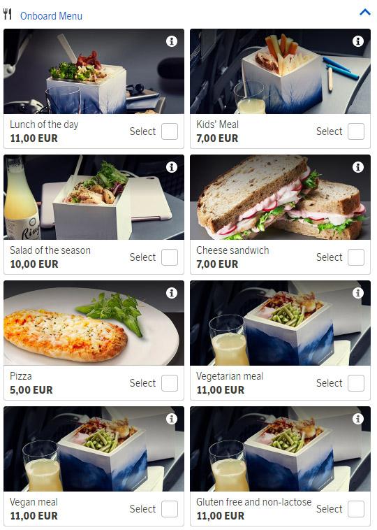 Платное питание на рейсах SAS, доступное для предварительного заказа