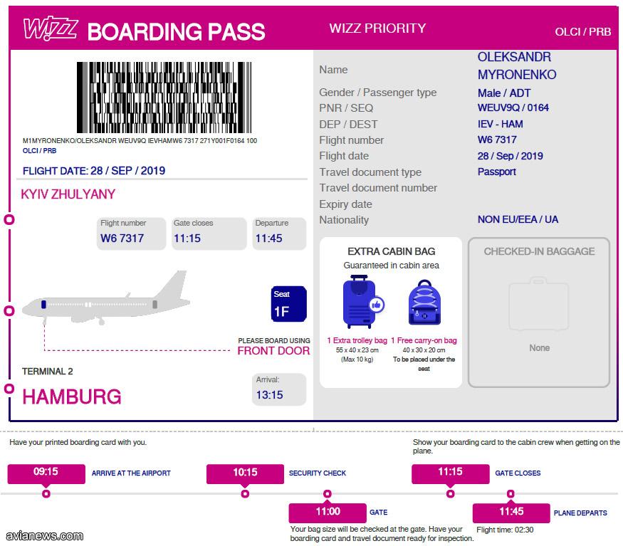 Посадочный талон Wizz Air в формате PDF для распечатывания