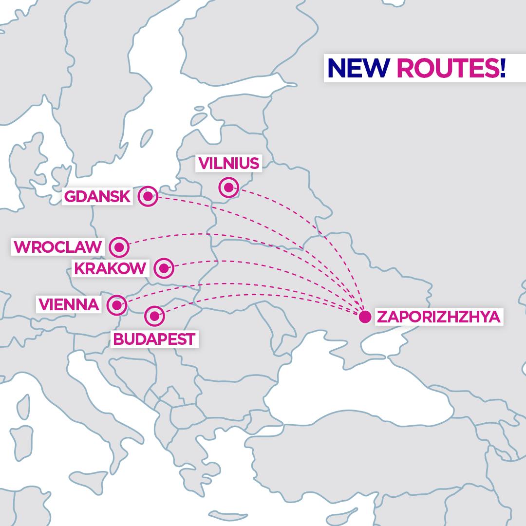 Карта новых маршрутов Wizz Air из Запорожья