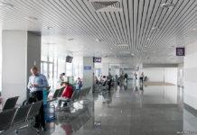 Существующая зона выходов на посадку к автобусам в терминале D аэропорта Борисполь