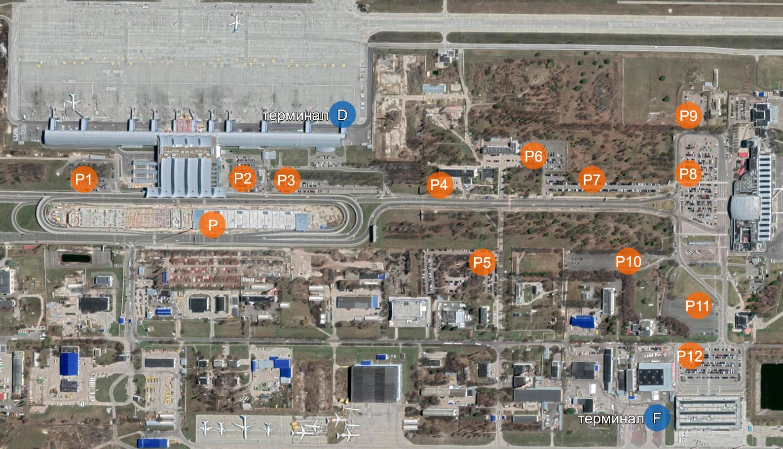 Карта общественных парковок в аэропорту Борисполь