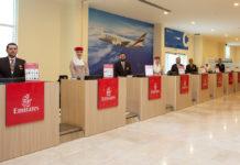 Зона регистрации на рейсы Emirates в порту Дубая Рашид