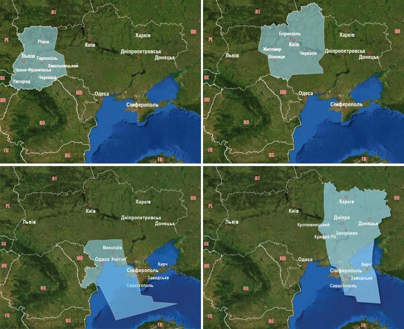 Районы полетной информации в Украине
