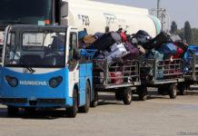 Тележка с багажом пассажиров в аэропорту Борисполь