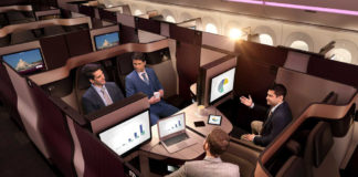 Qsuite на борту самолета Qatar Airways