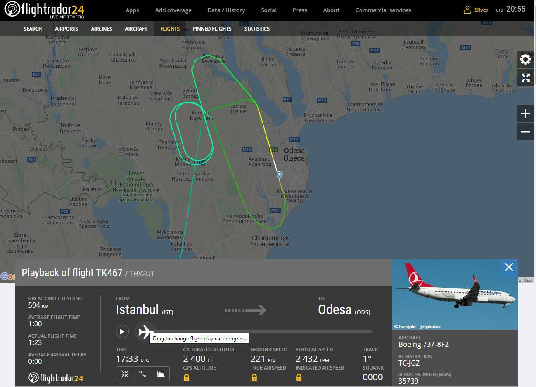 Траектория полета Boeing 737-800 Turkish Airlines перед посадкой в Одессе