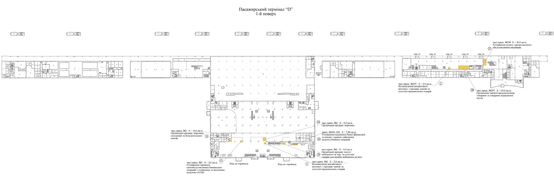 План площадей, который предложены в аренду на 1 этаже терминала D аэропорта Борисполь