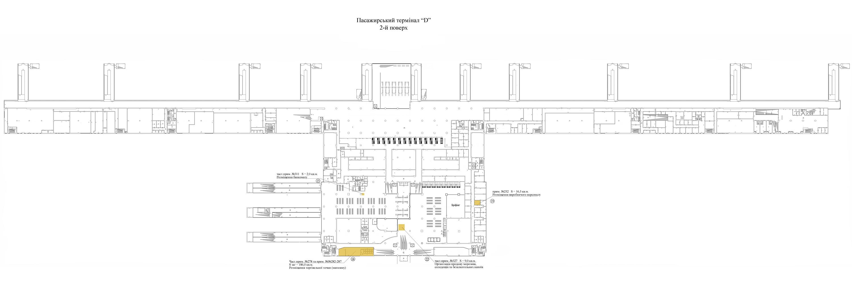 План площадей, который предложены в аренду на 2 этаже терминала D аэропорта Борисполь