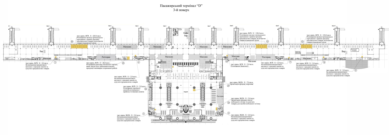 План площадей, который предложены в аренду на 3 этаже терминала D аэропорта Борисполь