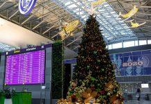 Новогодняя елка в аэропорту Борисполь