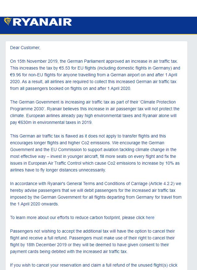 Письмо Ryanair пассажирам о дополнительном платеже в связи с увеличением налога на авиабилеты в Германии
