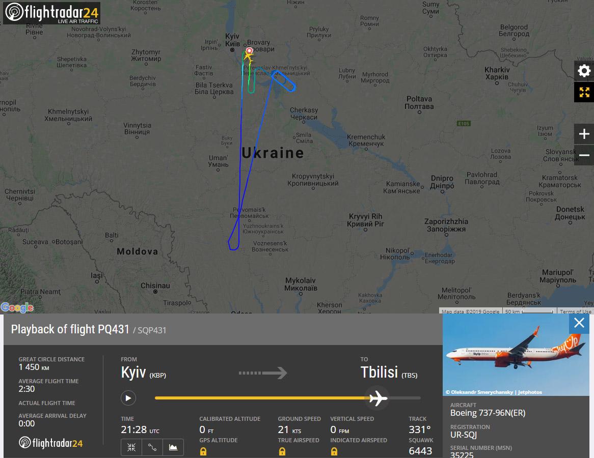 Возврат Boeing 737-900ER SkyUp в аэропорт Борисполь после вылета рейсом PQ431 28 декабря 2019 года