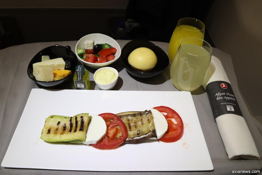 Питание в бизнес-классе Turkish Airlines на рейсах между городами Украины и Стамбулом. Закуска на ужин