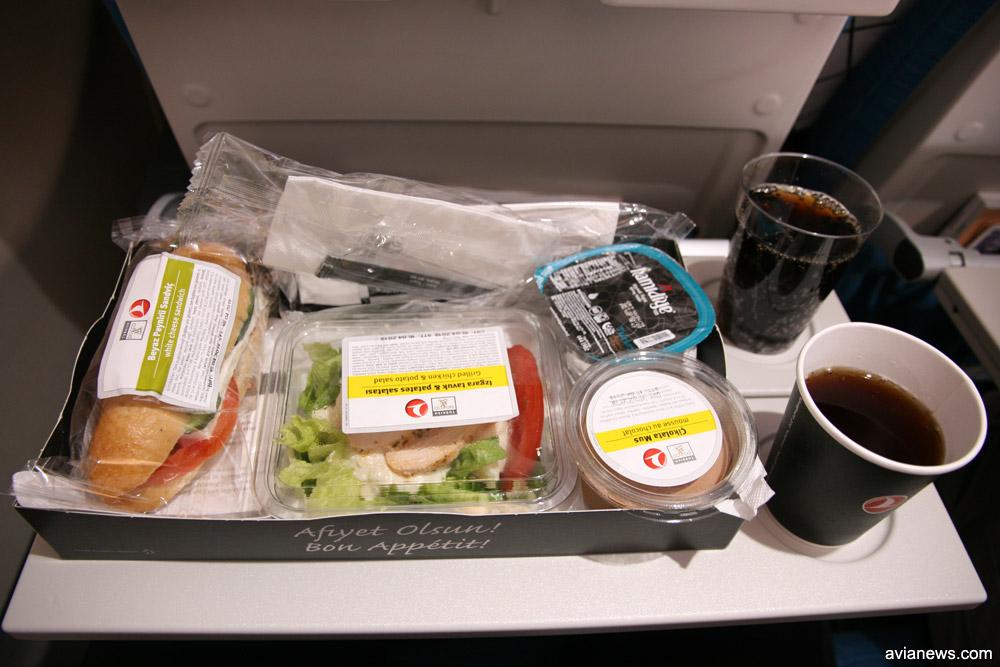 Ланч в эконом-классе Turkish Airlines на рейсах между городами Украины и Стамбулом