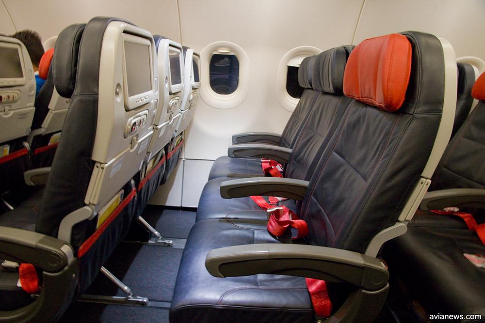 Кресла эконом-класса Turkish Airlines в узкофюзеляжных самолетах, в которых есть полноценный бизнес-класс
