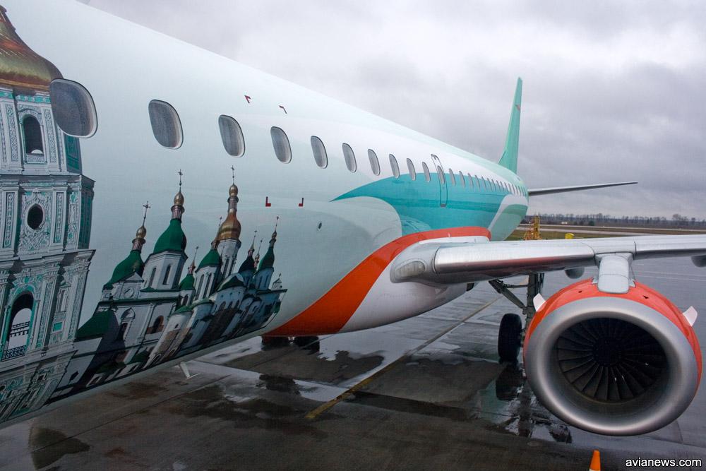 """Embraer 195 """"Роза Ветров"""" с изображением Софийского собора в Киеве"""