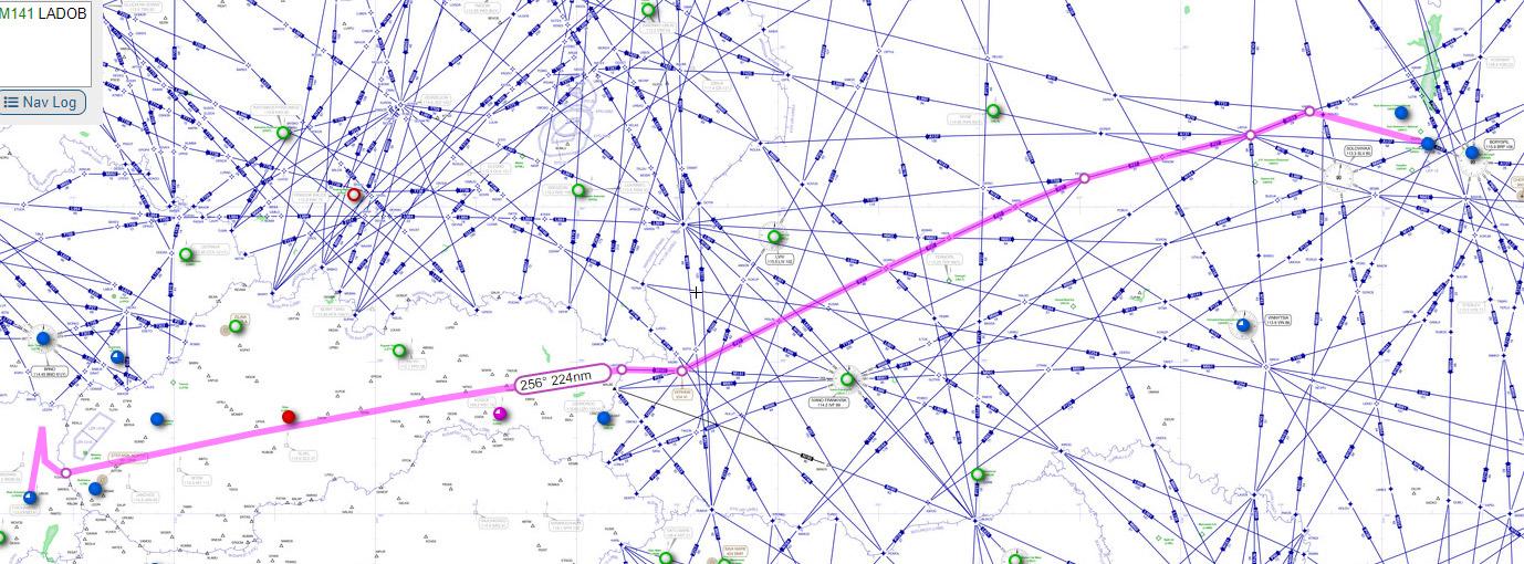 Пример трассировки маршрута для рейса Киев-Вена