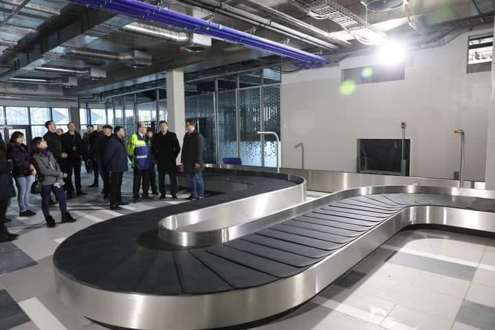 Багажная лента в зале прилета нового терминала в аэропорту Запорожье