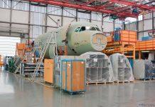 Часть фюзеляжа Airbus A321 на заводе в Гамбурге