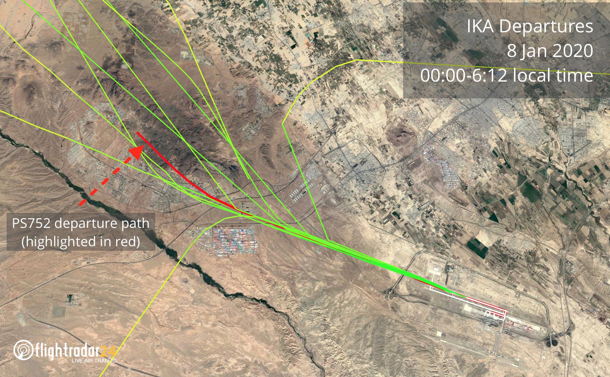 График движения самолетво при вылете из аэропорта Тегеран 8 января 202 года. Красным обозначен маршрут рейса PS 752