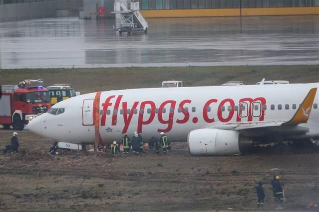 Работы по вызволению Boeing 737-800 Pegasus Airlines из грунта в аэропорту Сабихи Гекчен