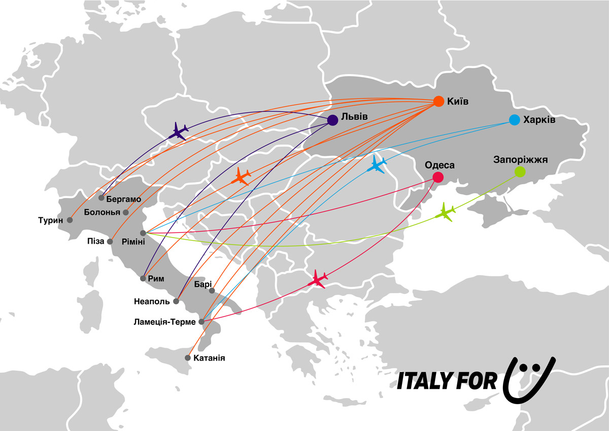 Сеть действующих и новых направлений SkyUp из Украины в Италию по состоянию на январь 2020 года