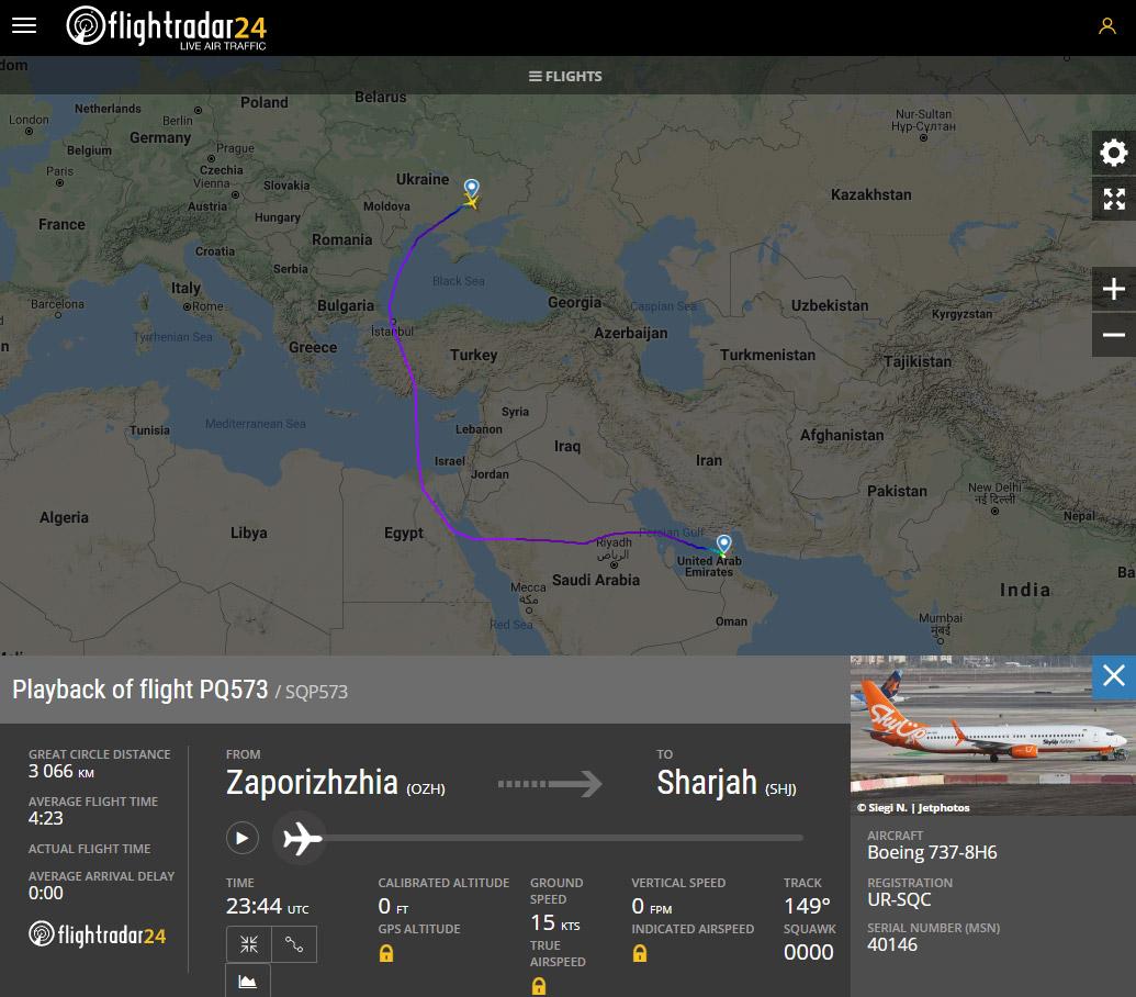 Маршрут рейса Запорожье-Шарджа SkyUp после запрета полетов над Ираном и Ираком