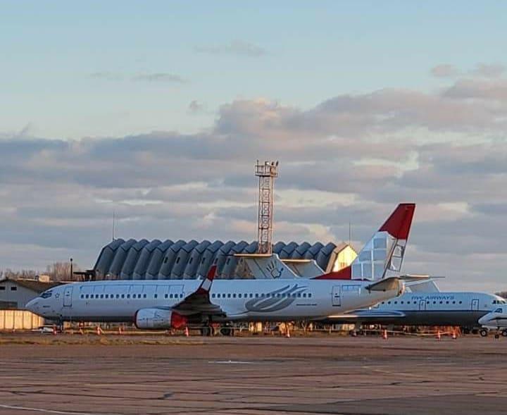 Boeing 737-800 Turkish Airlines на хранении в аэропорту Одесса, январь 2020 года