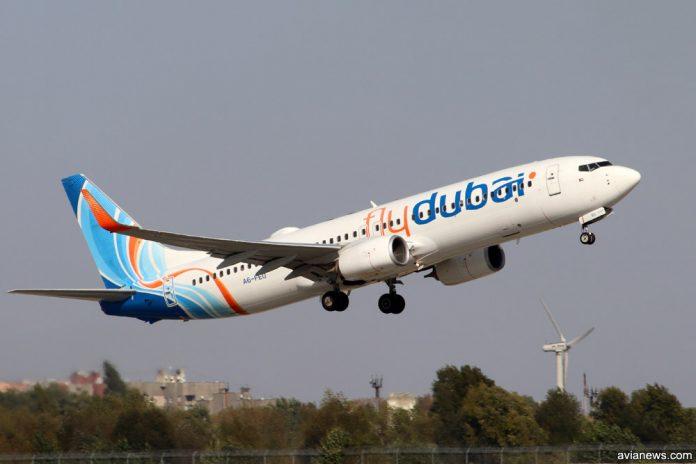 Взлет Boeing 737-800 flydubai