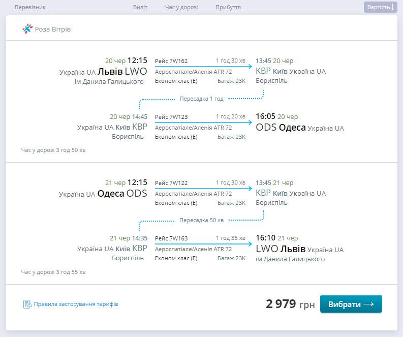 Пример стыковки рейсов Львов-Одесса и Одесса-Львов через Киев