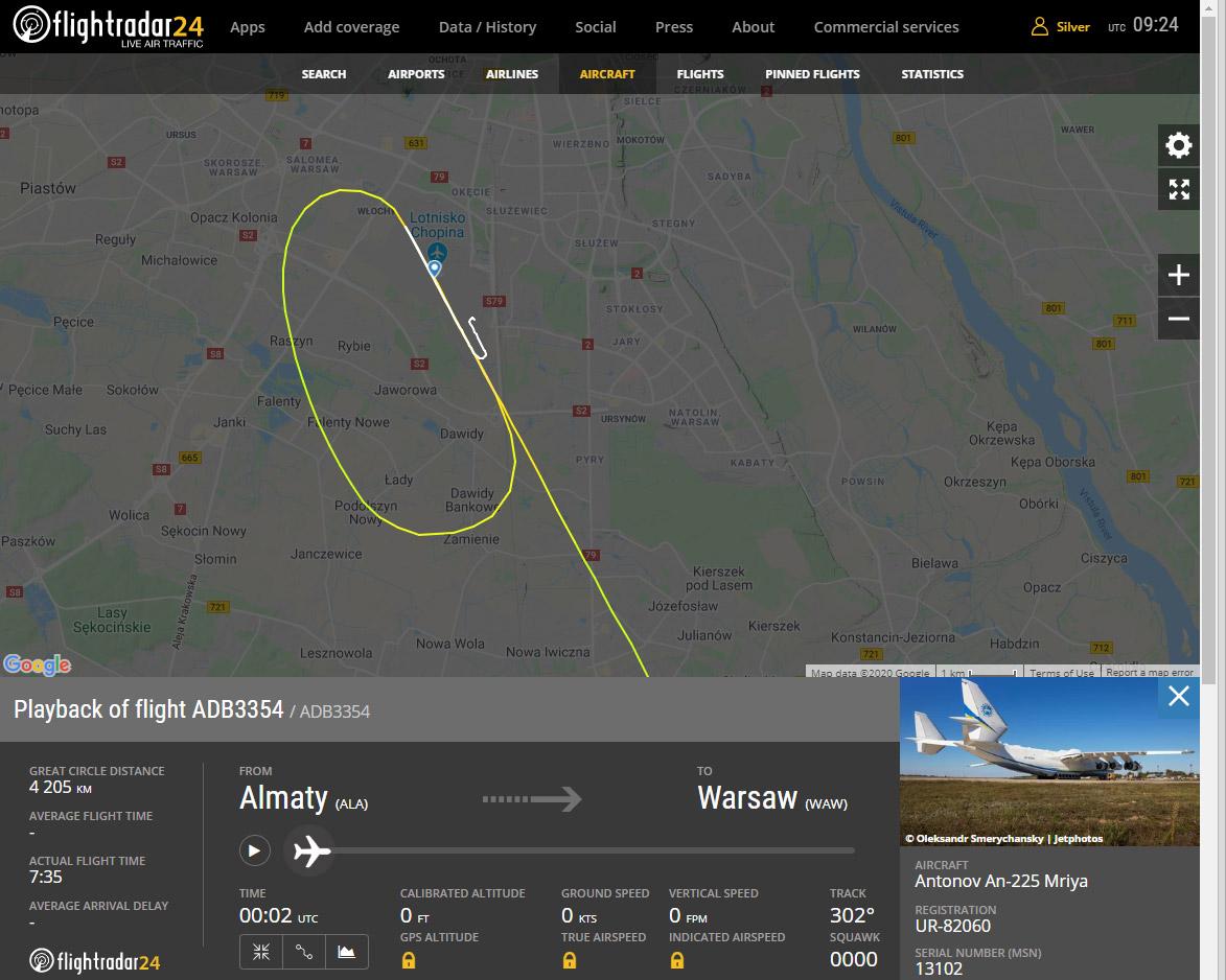 Схема пролета Ан-225 Мрия над аэропортом Шопена в Варшаве перед посадкой