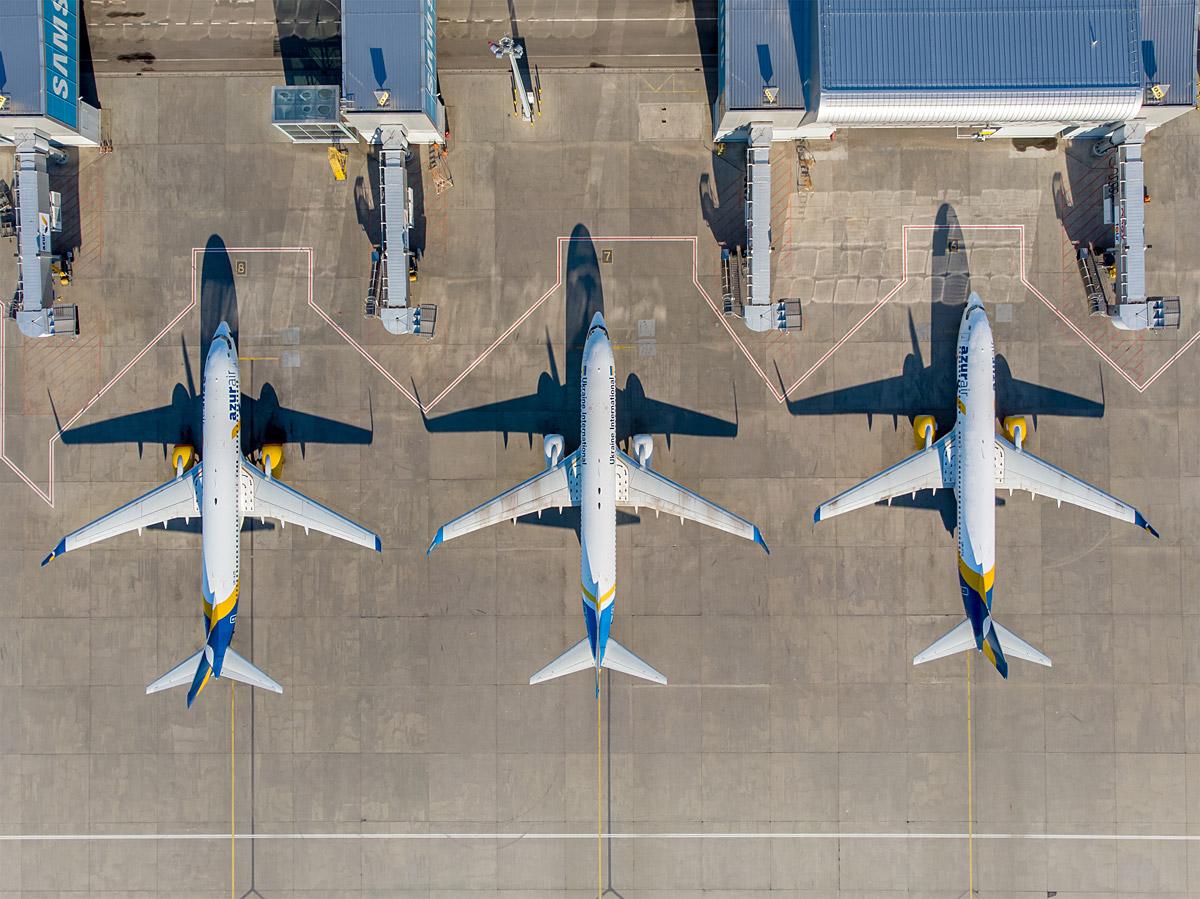 Самолеты на перроне терминала D в аэропорту Борисполь