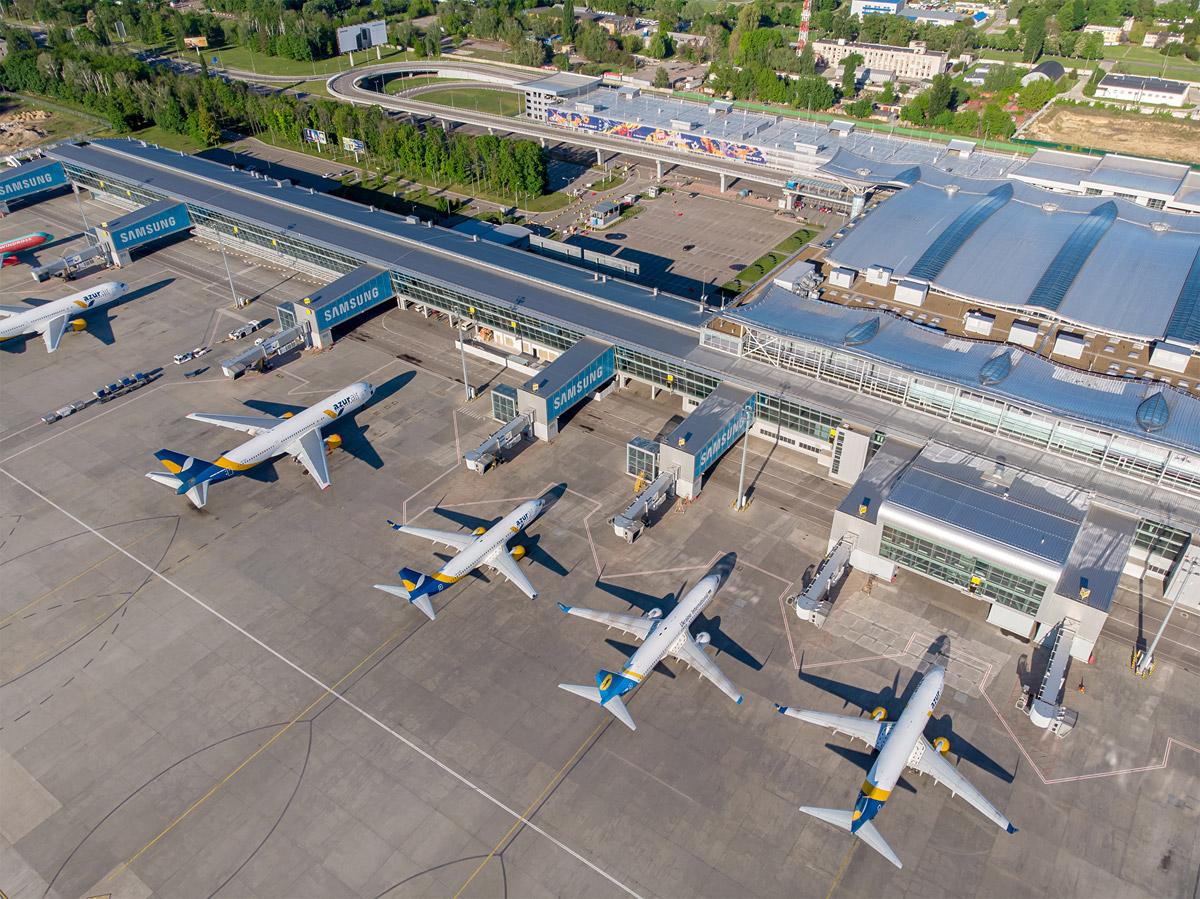 Вид с высоты на терминал D аэропорта Борисполь