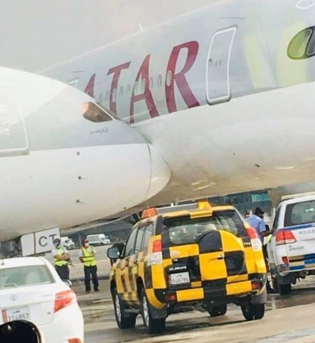 Boeing 787-8 и Airbus A350-900 после столкновения в аэропорту Дохи