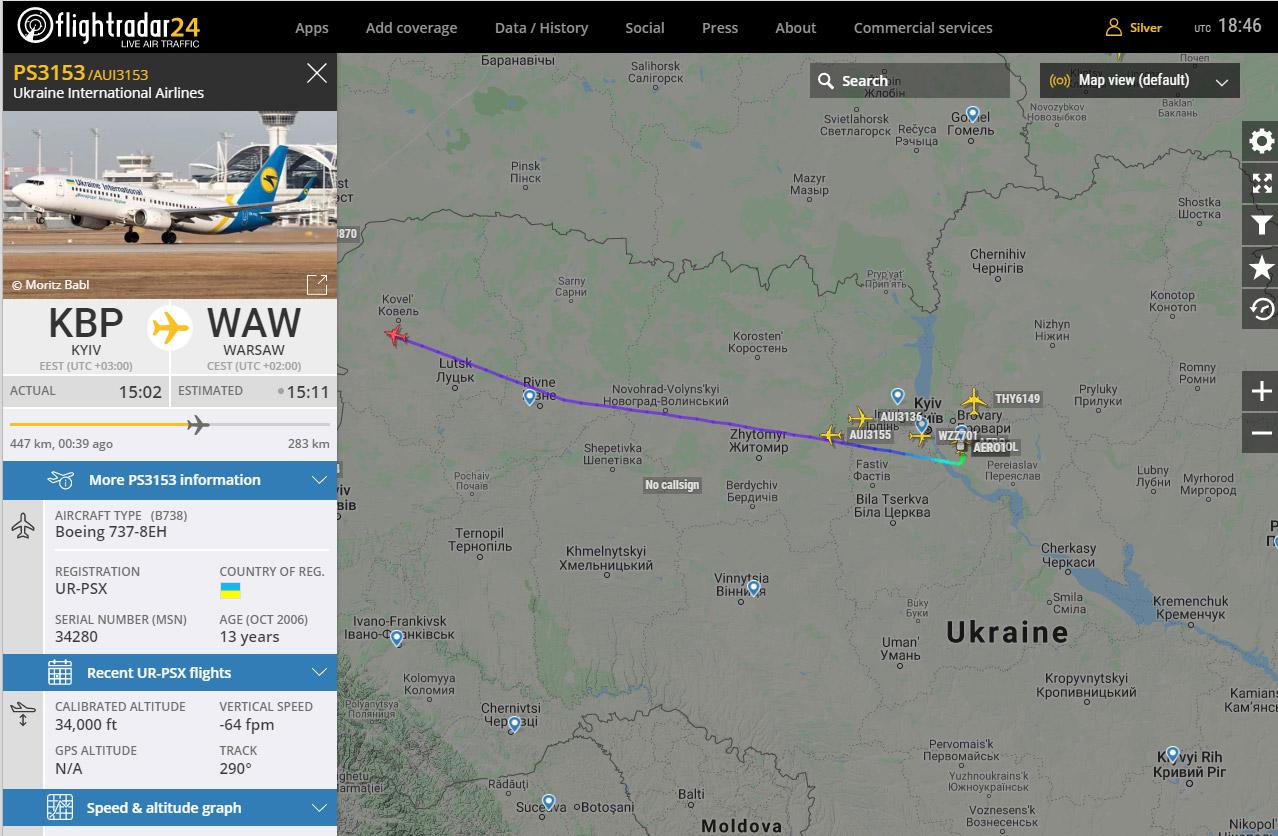 Чартерный рейс МАУ Киев-Варшава PS3153 с украинскими работниками на Boeing 737-800 UR-PSX