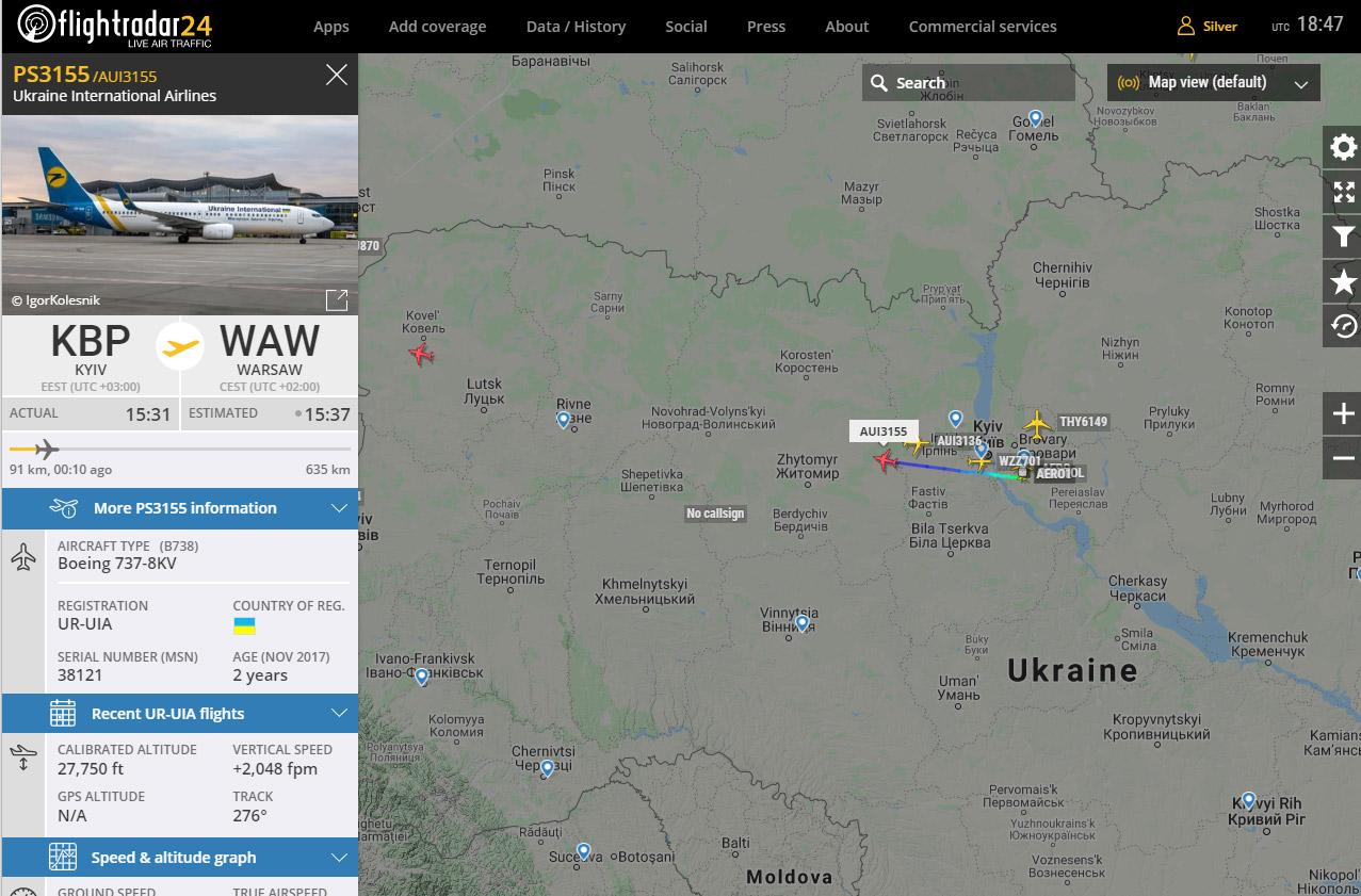 Чартерный рейс МАУ Киев-Варшава PS3155 с украинскими работниками на Boeing 737-800 UR-UIA