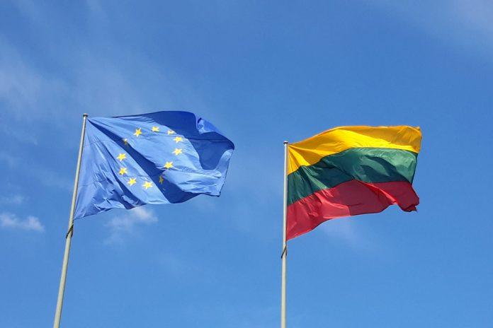 Флаг Евросоюза и Литвы