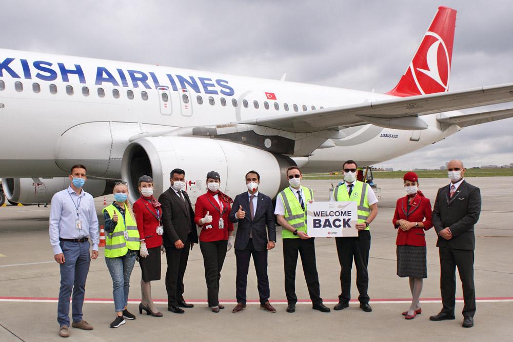 Встреча первого рейса Turkish Airlines в аэропорту Харьков после перерыва из-за карантина