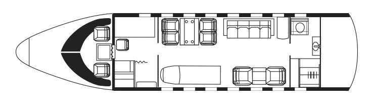 План расположения мест в летающей скорой помощи на базе Bombardier Challenger 604