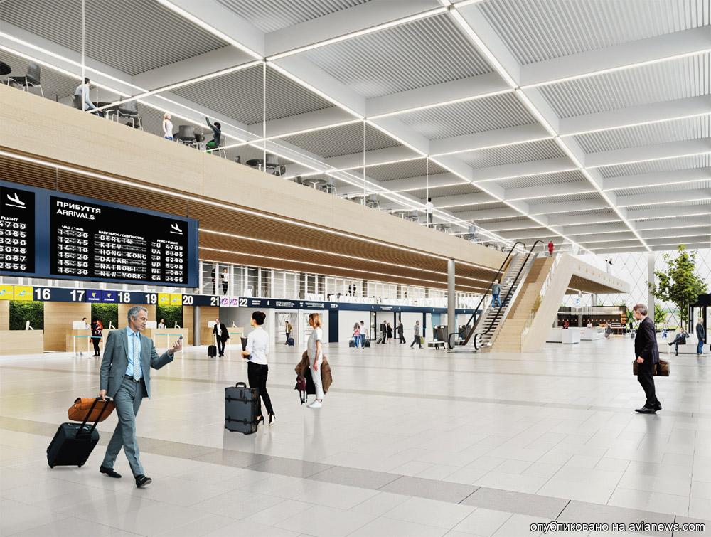 Визуализация зоны регистрации нового пассажирского терминала аэропорта Днепр