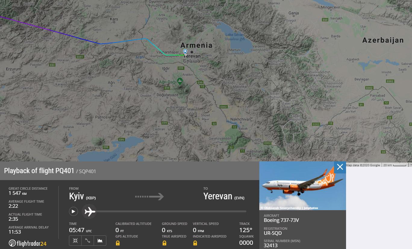 Маршрут рейса Киев-Ереван SkyUp