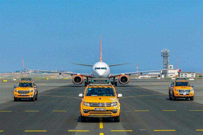 Встреча Boeing 737-800 SkyUp в новом аэропорту Стамбула
