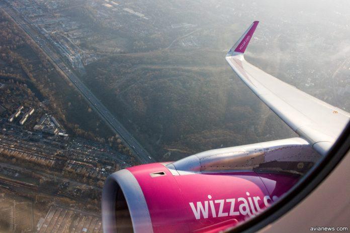 Вид из окна самолета Wizz Air
