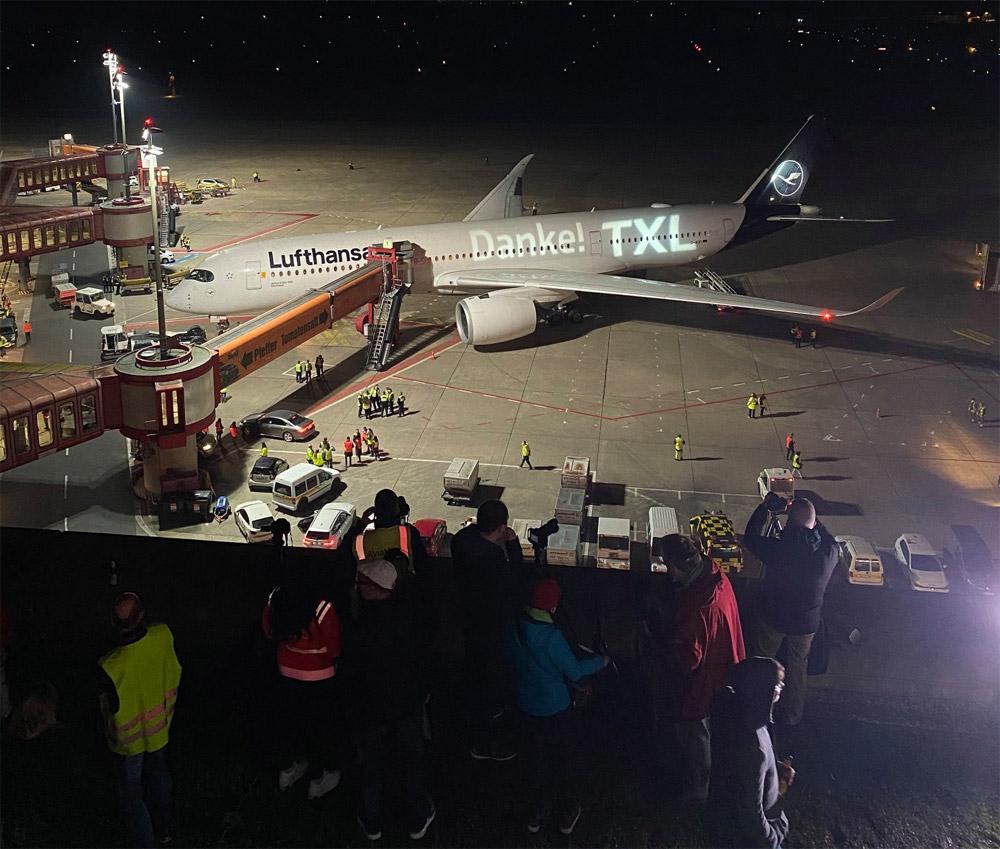 Последний рейс Lufthansa из аэропорта Тегель в Мюнхен на Airbus A350