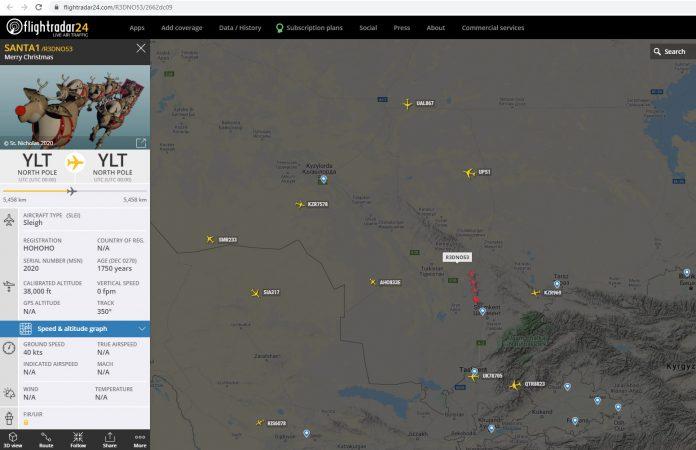 Упряжка Санта-Клауса на онлайн-радаре flightradar24.com
