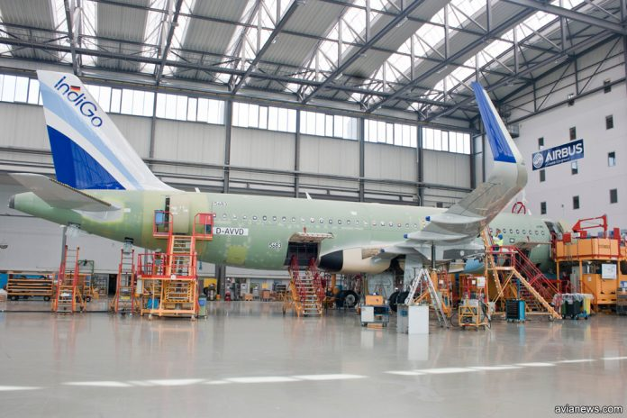 Производство A320 на заводе Airbus в Гамбурге