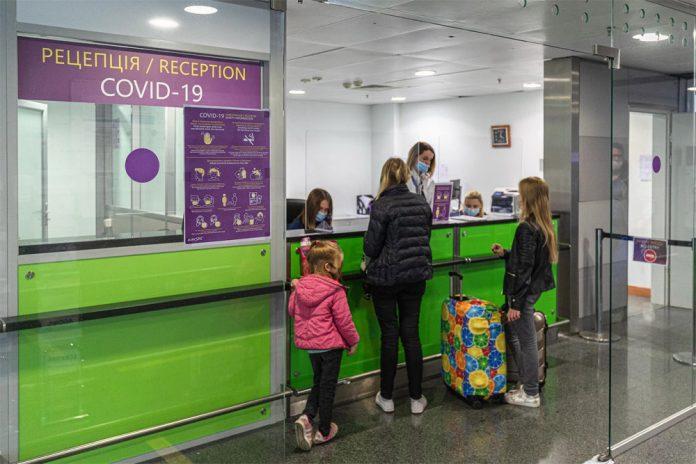 Пункт тестирования на коронавирус в терминале D аэропорта Борисполь