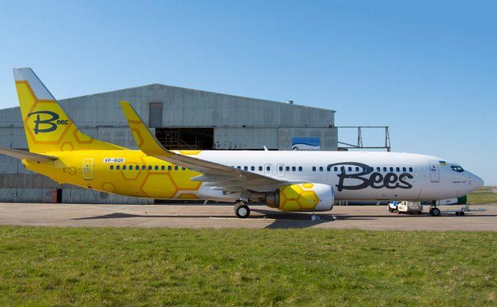 Boeing 737-800 Bees Airline с регистрацией UR-UBC (Временная регистрация VP-BQR)